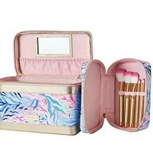 Lilly Pulitzer Train Case & Makeup Brush Set